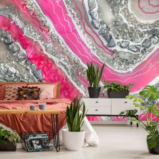 Fototapeta resin art z różową abstrakcją do sypialni