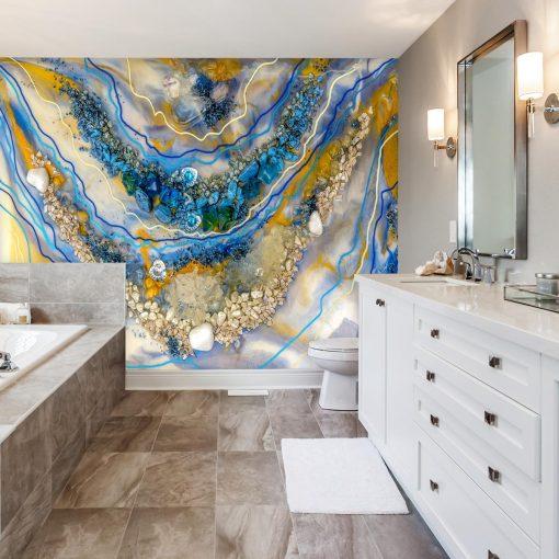 fototapeta idealna do łazienki geode art turkusowo złota abstrakcja