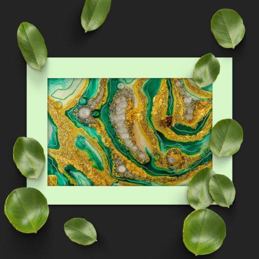 Plakat przedstawiający zieloną abstrakcję