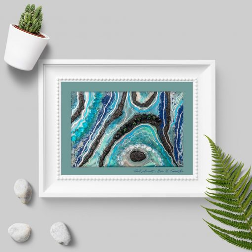 Plakat z niebiesko-czarną abstrakcją do salonu