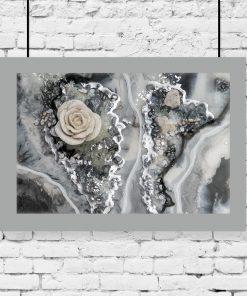 Plakat z motywem róży i kamieni
