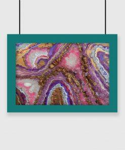 Abstrakcyjny plakat z motywem fioletowych kamyczków