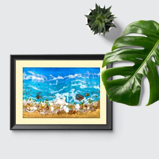 Plakat resin sea z żółwiem do salonu