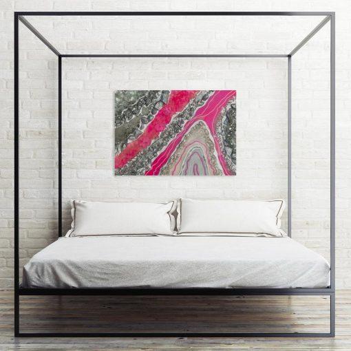 Obraz z motywem różowej abstrakcji - GEODE