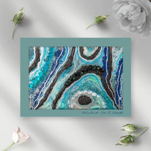 Plakat z motywem niebiesko-czarnej abstrakcji