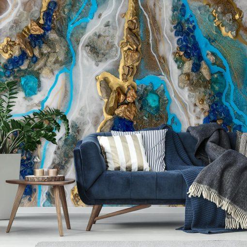 Fototapeta resin art - Niebiesko-złota abstrakcja