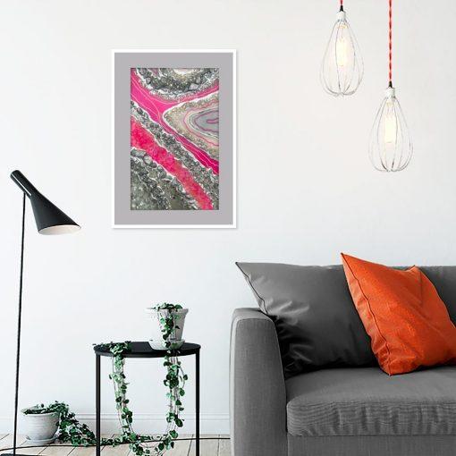 Plakat pionowy geode art - Różowy