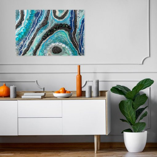 Obraz z niebiesko-czarną abstrakcją do sypialni