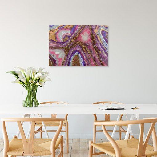 Obraz geode art z abstrakcją do sypialni