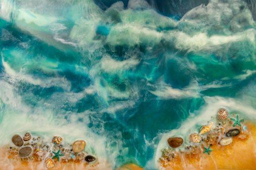 fototapeta morze i plaża złoto niebieska