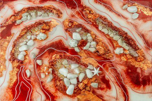 fototapeta reprodukcja obrazu malarstwa żywicznego abstrakcja z kamieniami