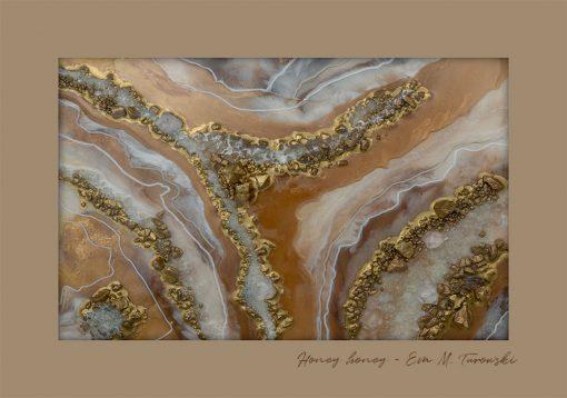 Plakat abstrakcyjny - Kamyczki w kolorze złotym