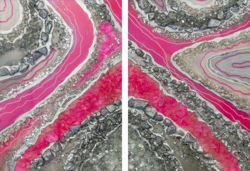 Obraz dyptyk z różową abstrakcją