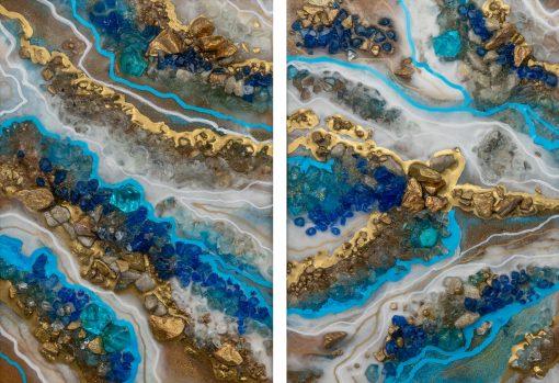 Obraz podwójny z niebieską abstrakcją