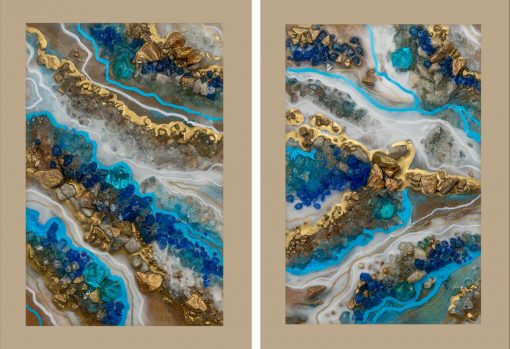 Plakat dyptyk z niebieskimi kamieniami