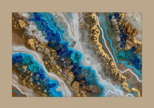 Plakat geode art z niebieską abstrakcją