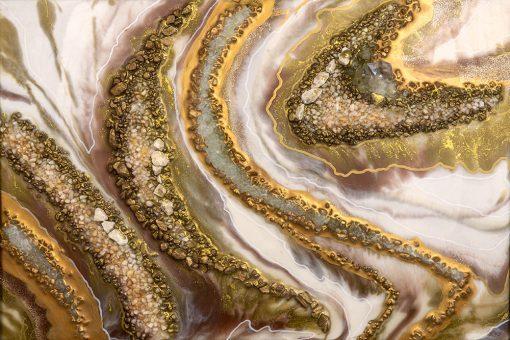 Obraz przedstawiający abstrakcje w kolorze złotym