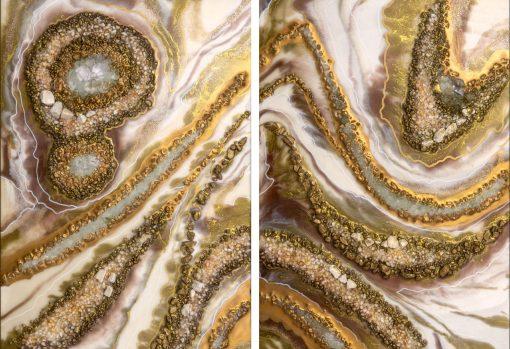 Obraz dyptyk z brązowo-kremową abstrakcją