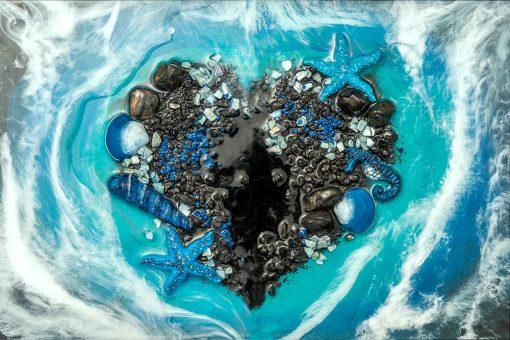 Fototapeta - Czarne serce z kamyczków