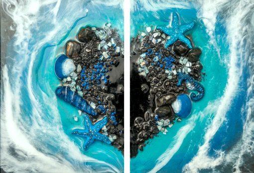 Obraz dyptyk z morskim sercem
