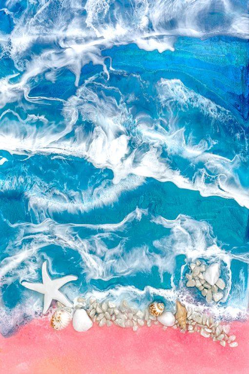 obraz morze z żywicy różowo niebieskie z muszelkami
