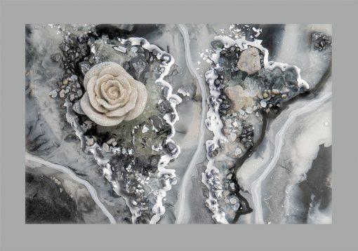 Plakat - Abstrakcja z kwiatem róży