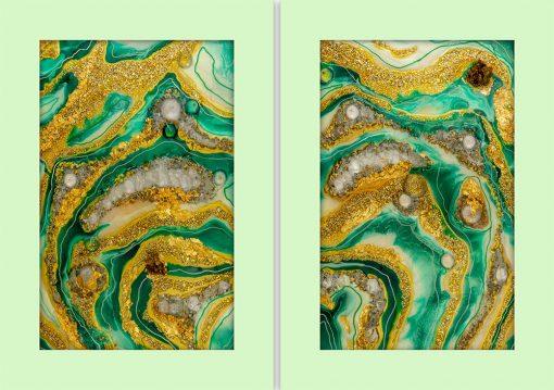 Plakat dyptyk z zieloną abstrakcją