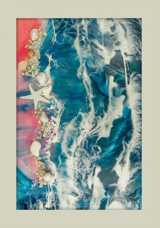 Plakat resin art z plażą i muszelkami