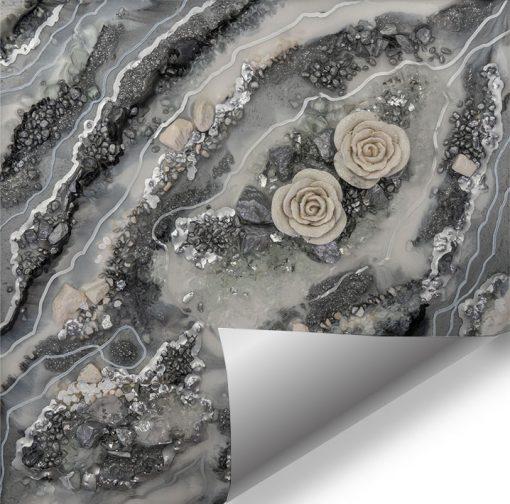 Fototapeta w stylu geode art z kwiatami
