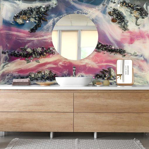 fototapeta do łazienki abstrakcja z maziajami kamieniami różowo czarna