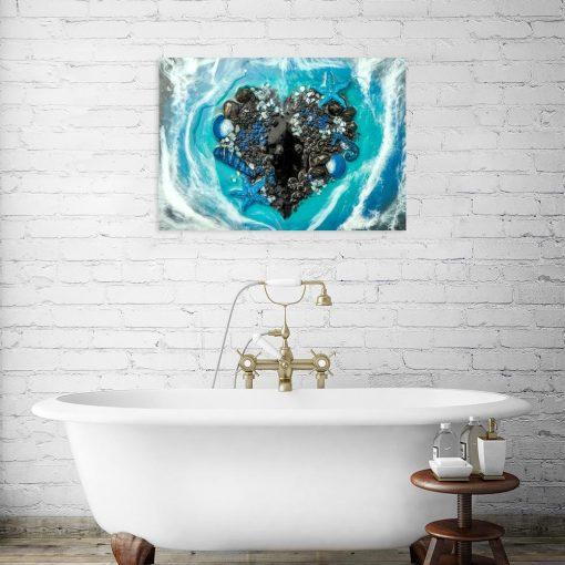 Obraz z sercem z kamieni