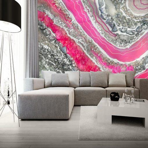 Foto-tapeta z abstrakcją w kolorze srebrnym do salonu