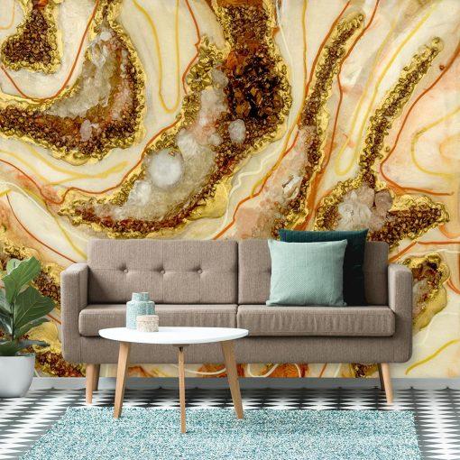 fototapeta do salonu abstrakcja malarstwo żywiczne złoty i srebrny kamienie