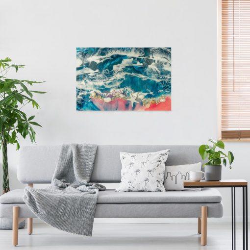 obraz idealny do salonu z motywem morza niebiesko różowe z muszelkami