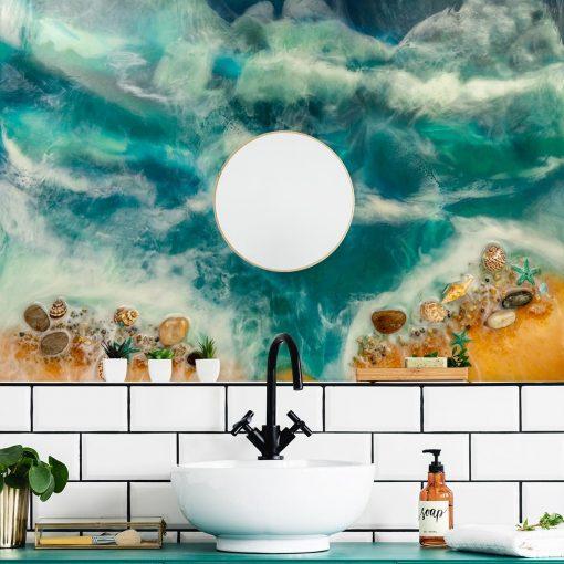 dekoracja do łazienki fototapeta morski motyw resin sea żywica