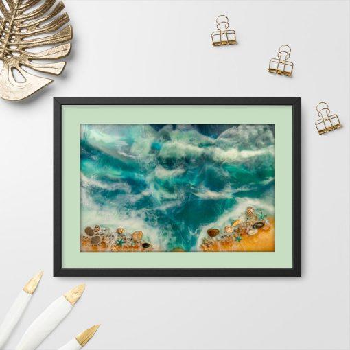 Plakat geode art - Muszle na pięknej plaży