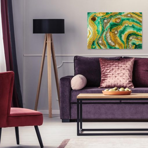 Obraz z motywem abstrakcji żółto zielony do salonu