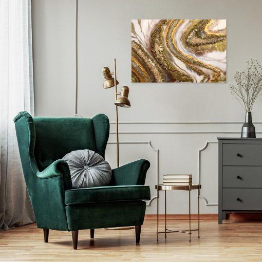 Obraz abstrakcyjny z kamyczkami w kolorze złotym