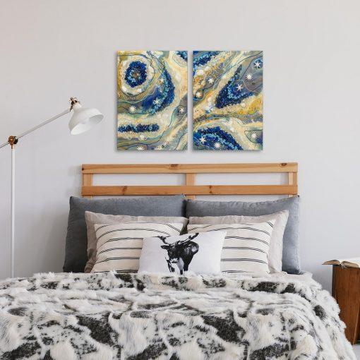Obraz dyptyk z kremową abstrakcją do sypialni