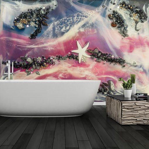 Fototapeta do łazienki resin sea żywiczna sztuka kamienie rozgwiazda