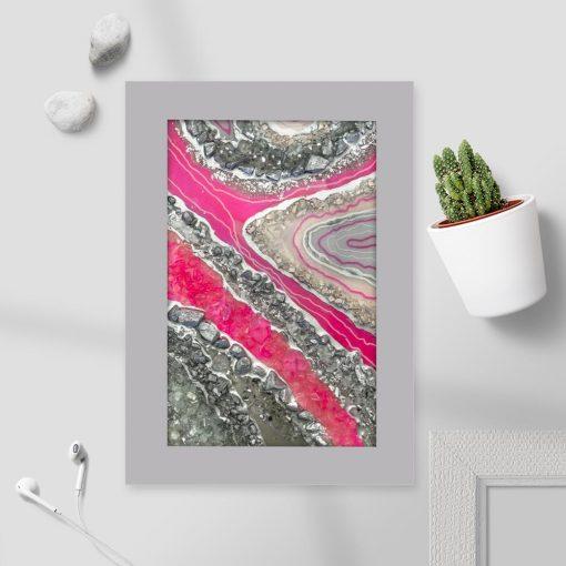 Plakat z różową abstrakcją do biura