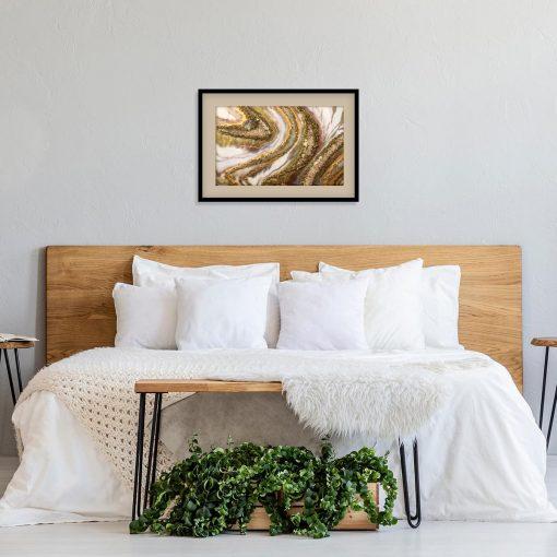 Plakat z kremową abstrakcją do sypialni
