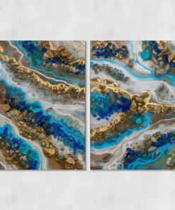 Obraz podwójny przedstawiający niebieską abstrakcję