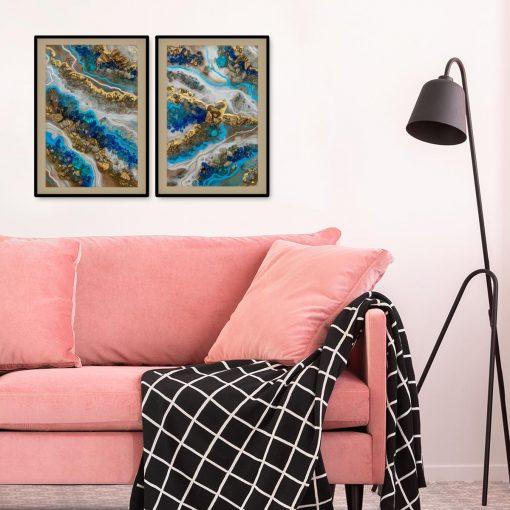 Plakat dyptyk z niebieską abstrakcją do salonu