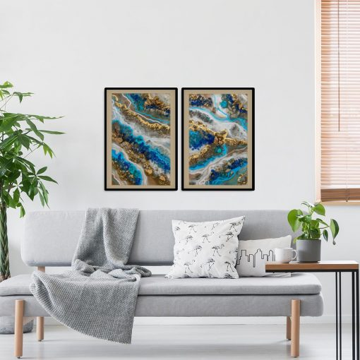 Podwójny plakat z niebieską abstrakcją