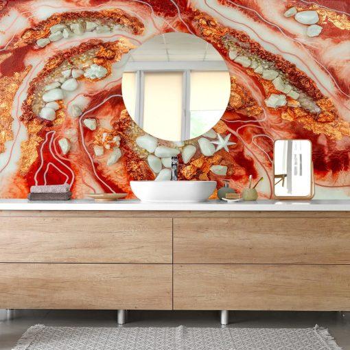 fototapeta do łazienki abstrakcja malarstwo żywiczne złoty czerwony