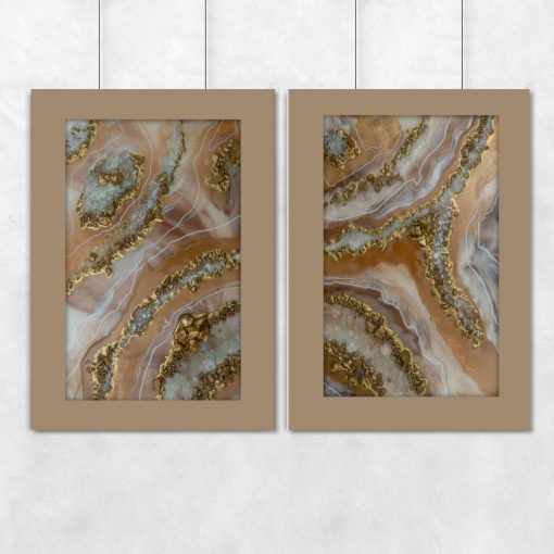 Plakat podwójny - Abstrakcja w odcieniach brązu