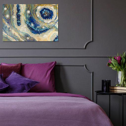 Obraz z abstrakcją w barach niebiesko-kremowych