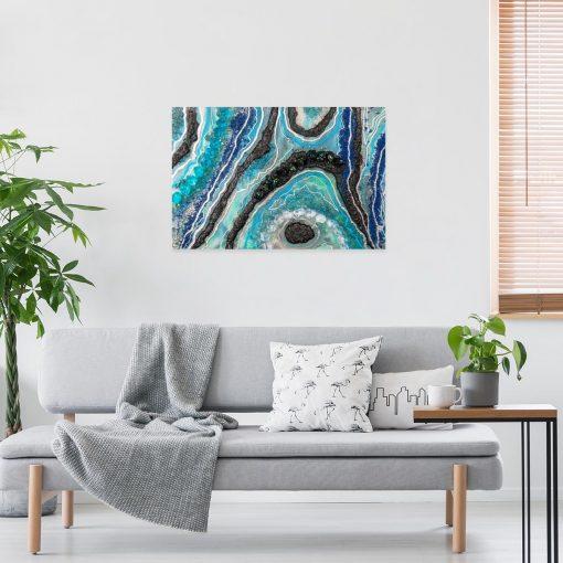 Obraz z niebiesko-czarną abstrakcją do salonu
