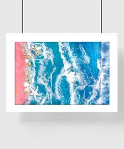 Plakat geode art z piaszczystą plażą